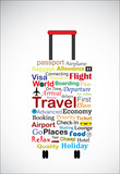 Travel Bag Concept Illustration with most used terminologies poster