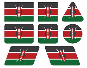 set of buttons with flag of Kenya