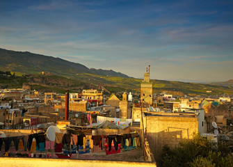 Old city of Morocco - Fes. View to medina