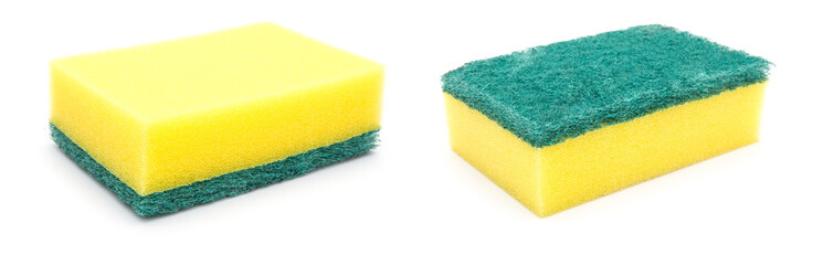 double side cleaning sponge on white background