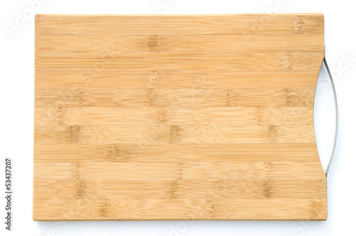 wooden chopping board on white with clipping path