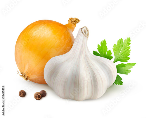 Garlic and onion isolated on white