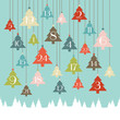 Advent Calendar Hanging Christmas Trees Retro