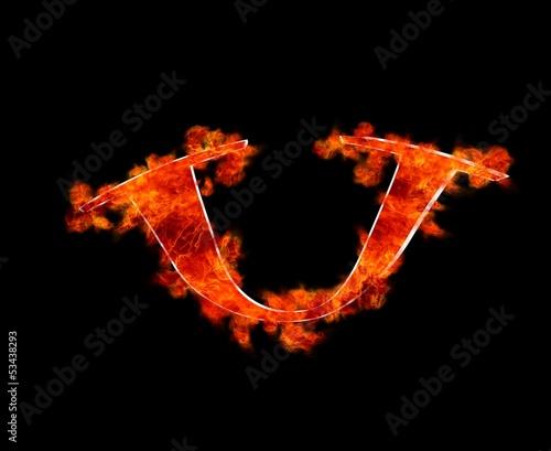 U en llamas.