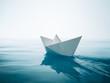 Leinwanddruck Bild - paper boat sailing