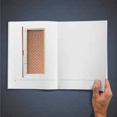 Brick wall inside a book.