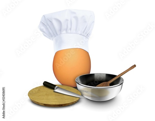 Egg wearing chef toques with cooking tools
