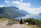 women, bike, mountainbike, lake garda, riva, monte brione