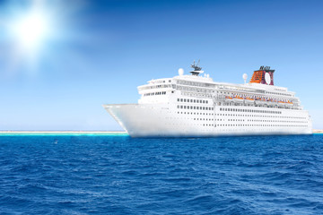 Beautiful huge cruise ship in the sea