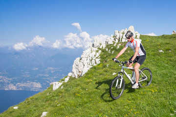 e-bike, pedelec, man, fahrrad, mountainbike, sommer