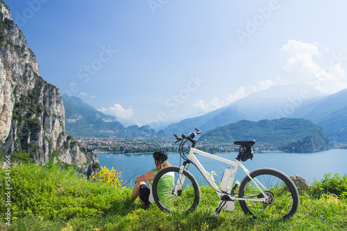 canvas print picture e-bike, pedelec, women, fahrrad, mountainbike, sommer
