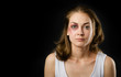 woman victim of domestic violence and abuse. on dark background