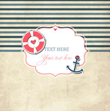 Vintage nautical scrap template with photo frame and anchor