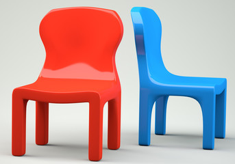 Red and blue cartoon-styled chairs