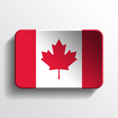 canada national flag 3d realistic square button