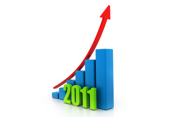 business growth of year in white background