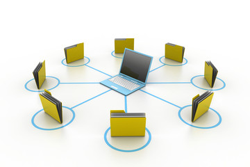 Computer and folder network.