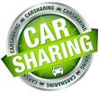 "Button Banner ""Carsharing"" Auto grün/silber"