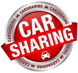 "Button Banner ""Carsharing"" Auto rot/silber"
