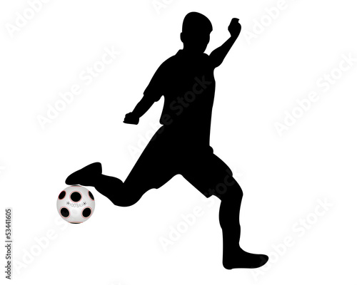 soccer player hits the ball