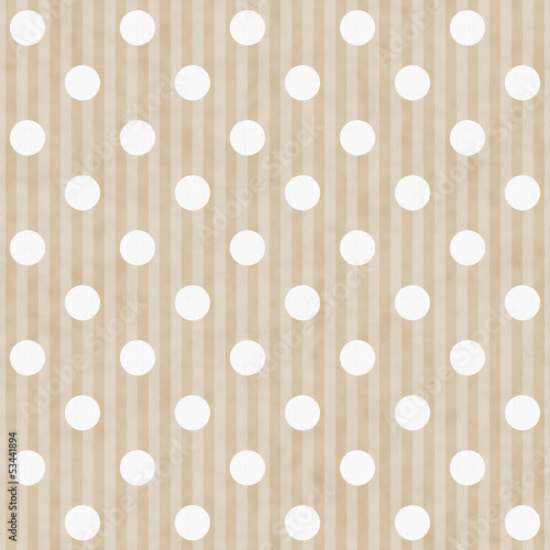 Ecru and White Polka Dot and Stripes Fabric Background