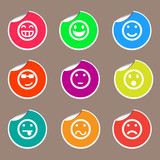 emotion set of round stickers