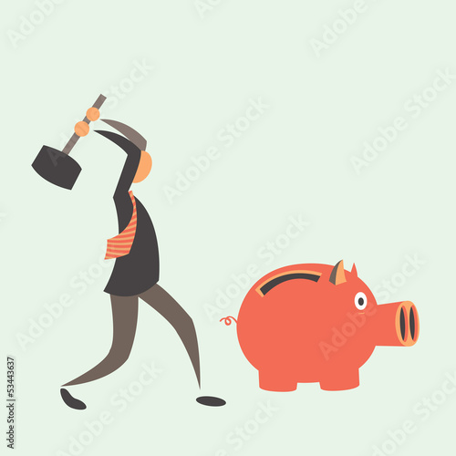 Business man breaking piggy
