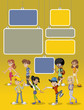 Yellow template with cartoon young people. Teenagers.