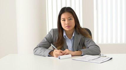 Asian businesswoman talking during video conference