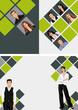 Green and gray template for brochure with business people