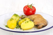 chicken drumstick with boiled potato