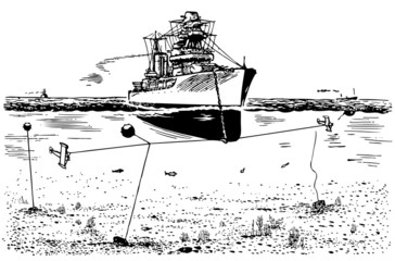 Mine sweeper at sea