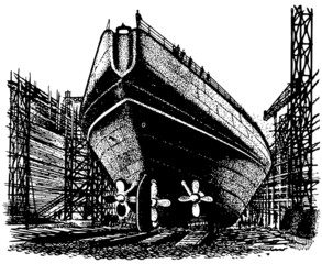 Ship in the dockage facility