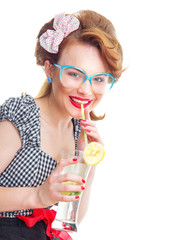 Smile young woman drinking lemonade or cocktail
