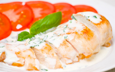 roasted chicken breast with sauce