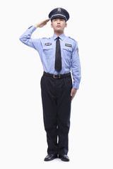 Police Officer Saluting, Studio Shot, full length
