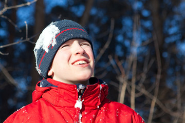 Happy teen in winterwear, outdoor