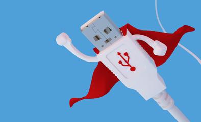 Flying super hero USB connector