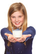 girl holding glass of milk