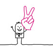 victory & hand sign