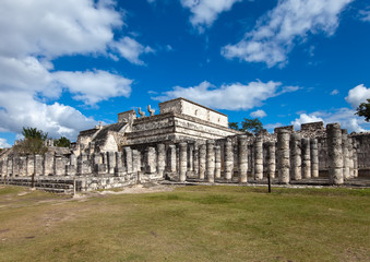 Hall of the Thousand Pillars - Columns at Chichen Itza, Mexico..