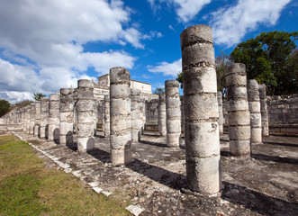 Hall of the Thousand Pillars-Columns at Chichen Itza, Mexico..