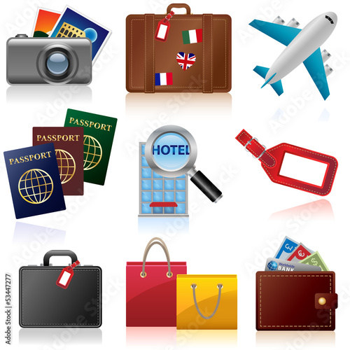 Set of icons relating to travel and tourism
