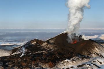 Volcanic eruption Tolbachik. The Kamchatka Peninsula