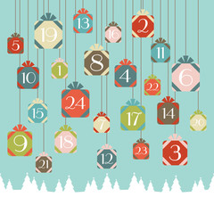 Advent Calendar Hanging Gifts Retro