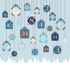 Advent Calendar Hanging Gifts Blue