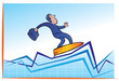 Businessman surfing on chart