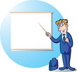 Businessman presenting in the front of projection screen