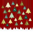 Advent Calendar Hanging Trees Forest Red/Green