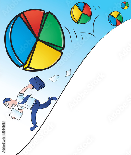 Businessman running away from Rolling Pie Charts